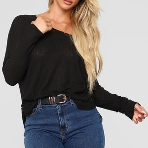 Mina Lounge Black Tunic Fashion Nova Top Waffle